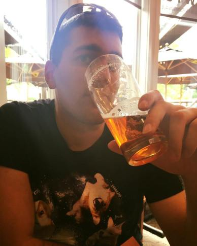 Nathan enjoying his beer