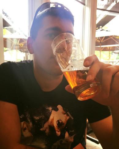 Nathan enjoying his beer
